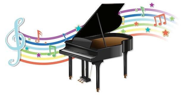 Fortepian z symbolami melodii na fali tęczy