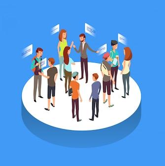 Forum internetowe. komunikacja ludzi, rozmawiający z przyjaciółmi i społeczeństwo izometryczny