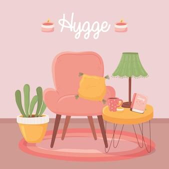 Fotel tabe z lampką filiżankę kawy i rośliną, ilustracja kreskówka styl hygge