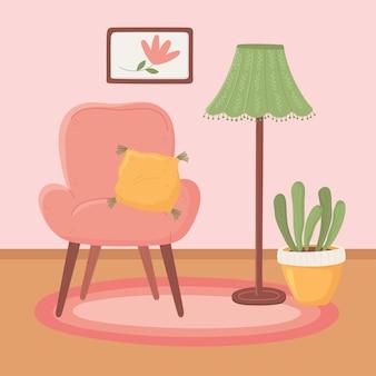 Fotel z poduszkową lampą podłogową i rośliną doniczkową, ilustracja w stylu kreskówki hygge
