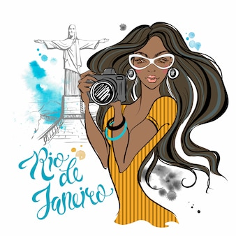 Fotograf dziewczyna w rio de janeiro. podróż do brazylii.