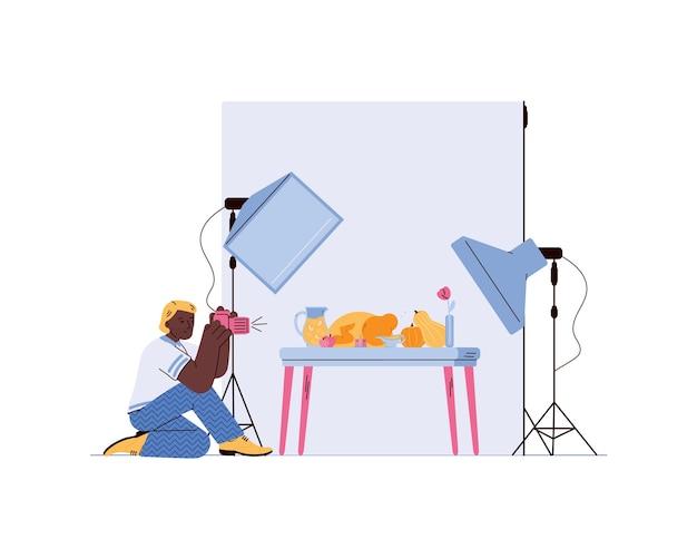 Fotograf produktowy lub magazynowy robiący zdjęcia jedzenia, płaska ilustracja.
