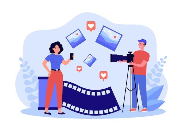 Fotograf robi zdjęcia do mediów społecznościowych. model dziewczyna pozuje dla człowieka z aparatem na ilustracji wektorowych płaski statyw. koncepcja sesji zdjęciowej dla banera, projektu strony internetowej lub strony docelowej