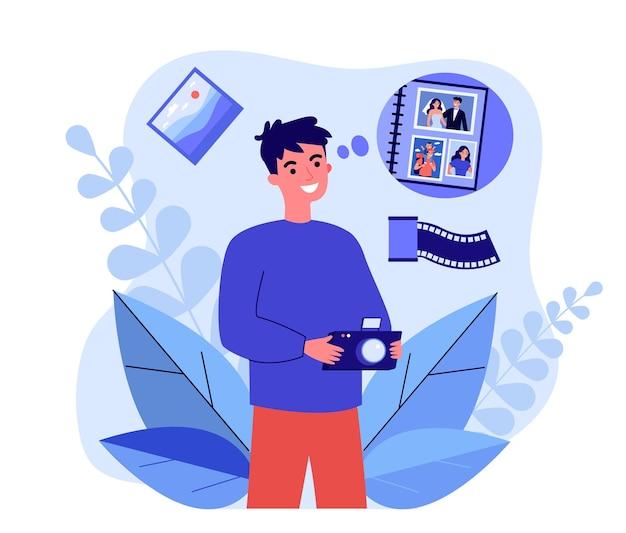 Fotograf robi zdjęcie do albumu rodzinnego. mężczyzna trzyma aparat, robienie zdjęć dla ilustracji wektorowych płaski pamięci. kreatywne hobby, koncepcja fotografii na baner, projekt strony internetowej lub strona docelowa