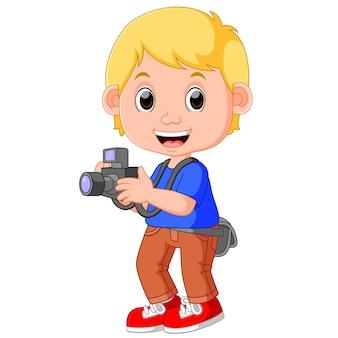 Fotograf z postaciami kreskówek