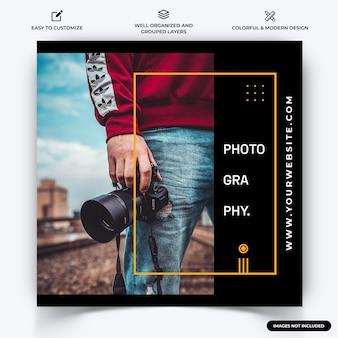 Fotografia instagram post web banner szablon wektor premium wektor