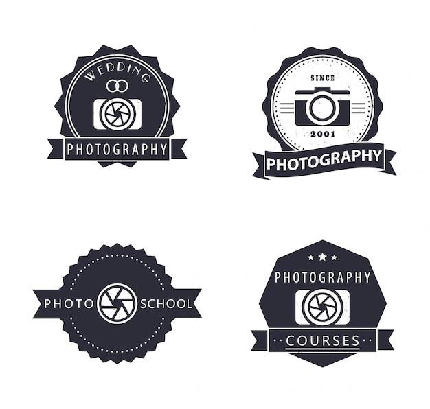Fotografia, kursy, szkoła fotograficzna, logo grunge fotografa, emblematy, znaki