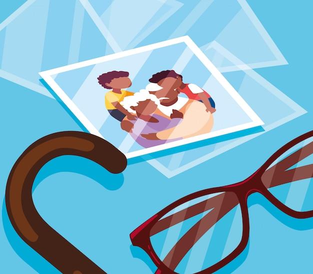 Fotografia śliczna stara para ściskała z szkłami i trzciną