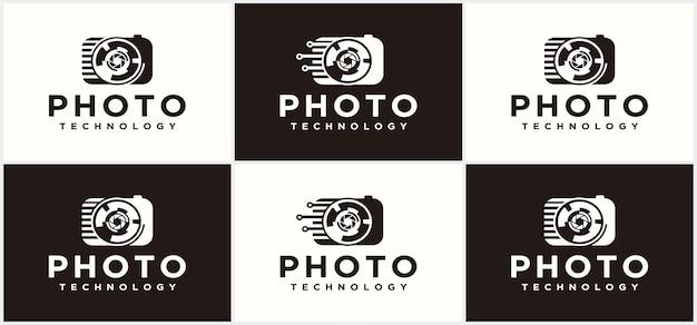 Fotografia technologia logo kolekcja logo aparatu logo fotografia technologia ikona projektowania logo