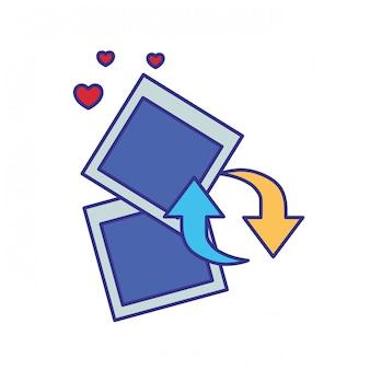 Fotografia z ikona na białym tle obiektów