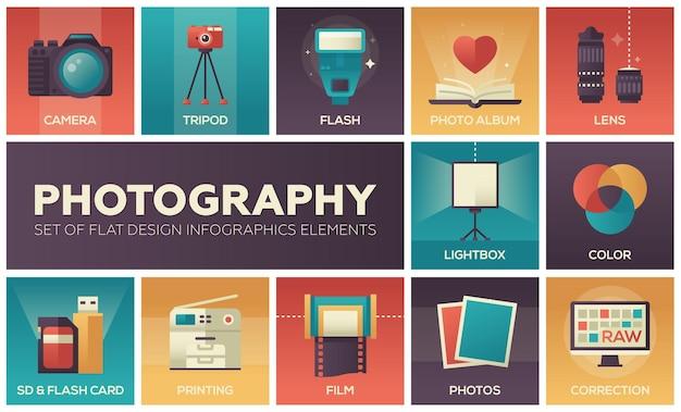 Fotografia - zestaw elementów infografiki płaska konstrukcja. kolorowe kwadratowe ikony z opisem. aparat, statyw, lampa błyskowa, album, obiektyw, lightbox, kolor, karta sd i flash, drukowanie, film, korekta
