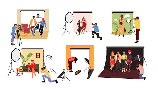 Fotografowie w ilustracji studio