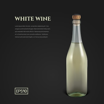Fotorealistyczna butelka białego wina musującego na czarnym tle