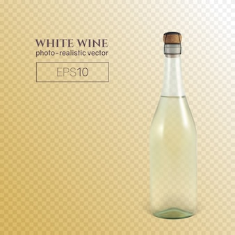 Fotorealistyczna butelka białego wina musującego na przezroczystym tle.