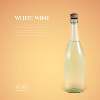Fotorealistyczna butelka białego wina musującego na żółto