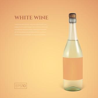 Fotorealistyczna butelka białego wina musującego na żółtym tle m