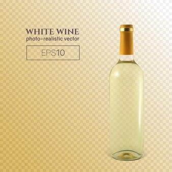 Fotorealistyczna butelka białego wina na transparentnym