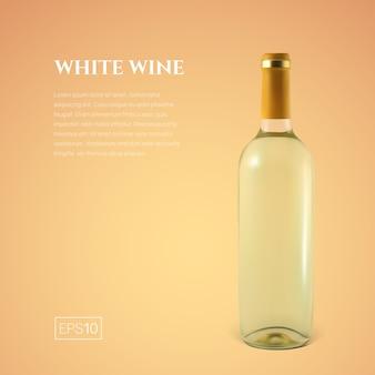 Fotorealistyczna butelka białego wina na żółto