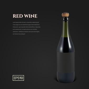 Fotorealistyczna butelka czerwonego wina musującego na czarno