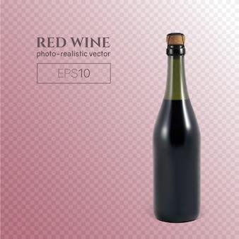 Fotorealistyczna butelka czerwonego wina musującego na przezroczystym tle.