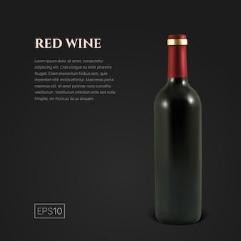 Fotorealistyczna butelka czerwonego wina na czarno