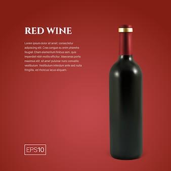 Fotorealistyczna butelka czerwonego wina na czerwono