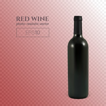 Fotorealistyczna butelka czerwonego wina na przezroczystym tle. przezroczysta butelka wina. ta butelka wina może być umieszczona na dowolnym tle.