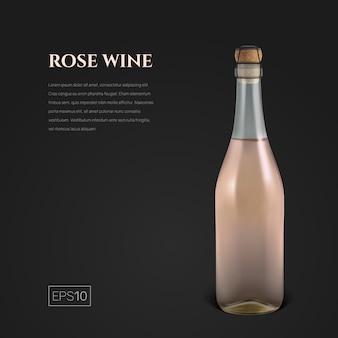 Fotorealistyczna butelka różowego wina musującego na czarnym tle