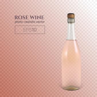 Fotorealistyczna butelka różowego wina musującego na przezroczystym tle.