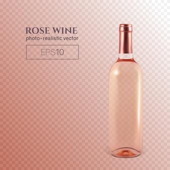 Fotorealistyczna butelka różowego wina na transparentnym
