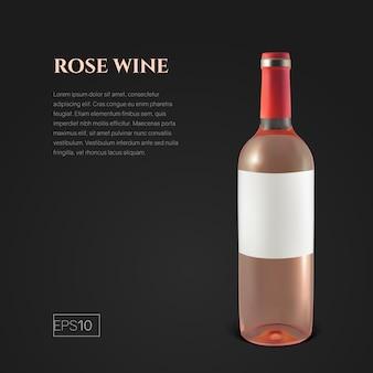 Fotorealistyczna butelka wina różowego na czarno