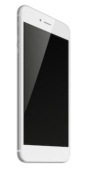 Fotorealistyczny inteligentny telefon z czarnym ekranem na białym tle.