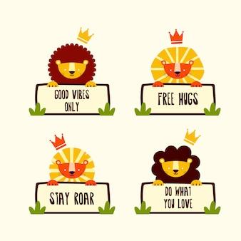 Four cute lion head z cytatami motywacyjnymi