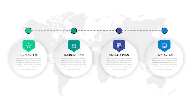 Four point infographic element strategii biznesowej z ikonami