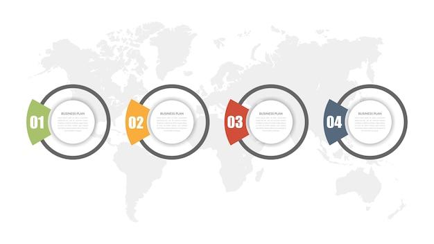 Four point infographic element strategii biznesowej z liczbą