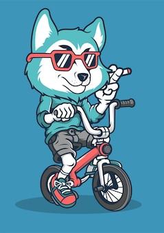 Fox biker ręcznie rysowane ilustracji