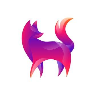 Fox gradient kolorowe logo wektor