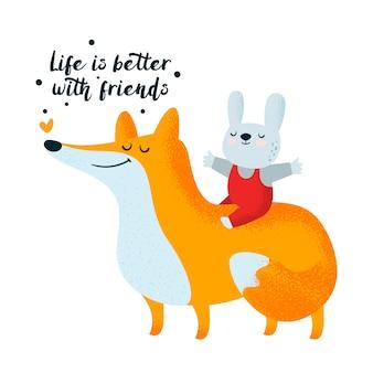 Fox i króliczek. przyjaźń, przyjaciele. śliczne znaki zwierząt