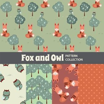 Fox i sowa śliczny tęcza bezszwowy wzór