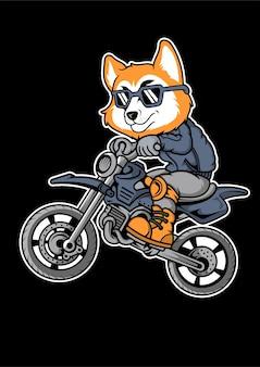 Fox motocrosser ręcznie rysowane ilustracji
