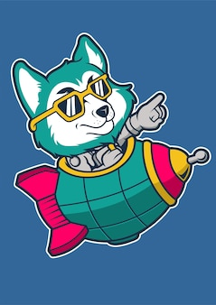 Fox rocket ręcznie rysowane ilustracji