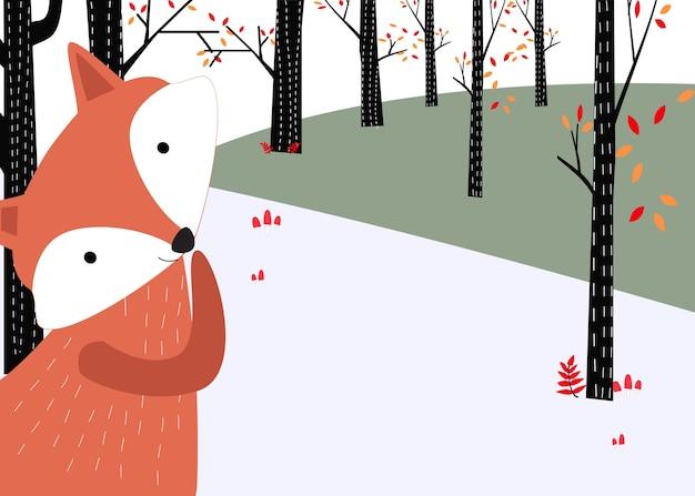 Fox w wiosny lasowym tle dla karty