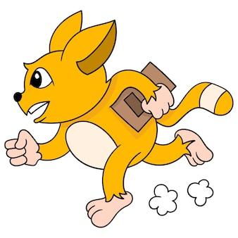 Fox z zapałem biegnie z książką w ręku do szkoły. kreskówka emotikon. doodle ikona rysunku, ilustracji wektorowych
