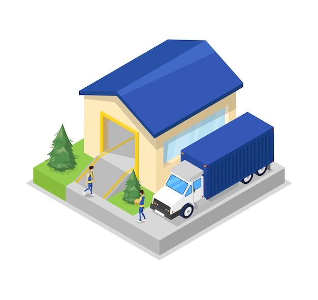 Frachtowa ciężarówka blisko magazynowego wieszaka isometric ilustraci