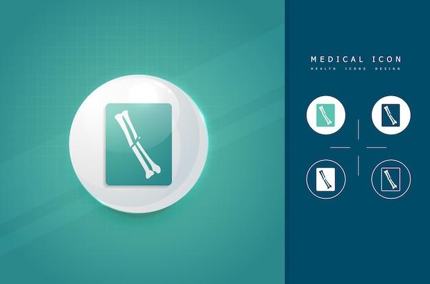 Fracture bone xray icon