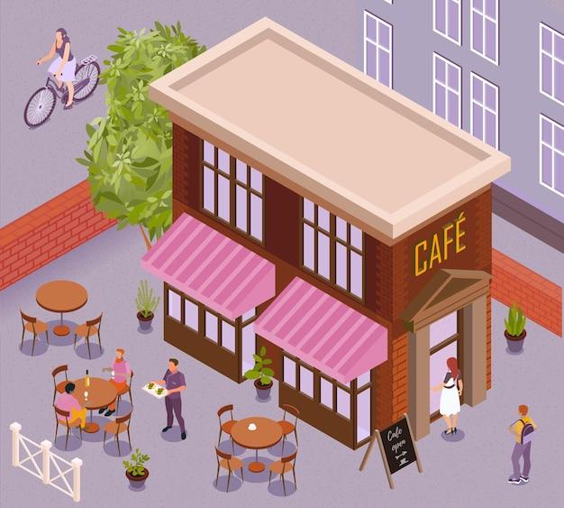 Fragment krajobrazu miasta z izometrycznym budynkiem kawiarni i stolikami na świeżym powietrzu