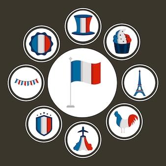 Francja dzień bastylii zestaw ikon