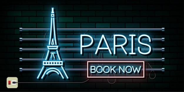 Francja i paryż podróży i podróży tle światła neonowego