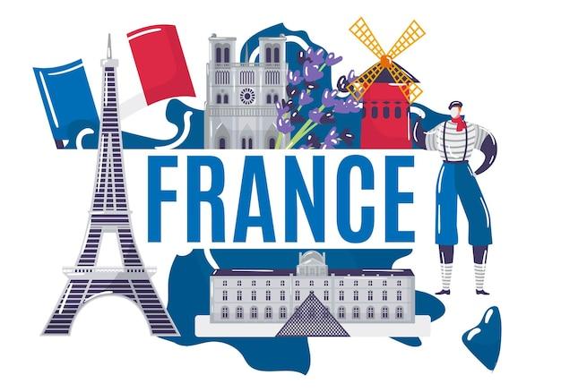 Francja kraj badania koncepcja świat europejski francuski stereotyp wieża eiffla mim płaskie wektor ilustr...