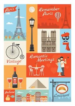 Francja paryż styl vintage ikony ilustracje